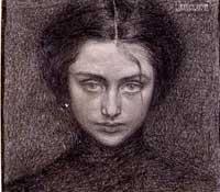 Domenico Baccarini - Ritratto di donna, matita su carta