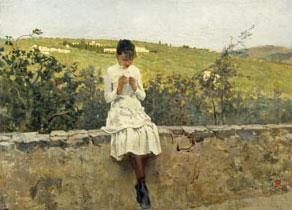 Telemaco Signorini - Sulle colline a Settignano - Olio su tela