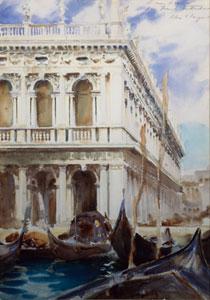 John Singer Sargent (1856 – 1825)  The Libreria, Venice, ca 1902-1904  matita e acquerello su carta/watercolor on paper, cm 25,4x35,6  Collezione privata/ Private collection - Courtesy of Adelson Galleries, New York