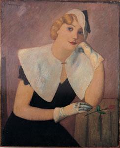 Piero Marussig - Donna con fiore, 1927 - Olio su tela, cm 75 x 61 - Collezione privata