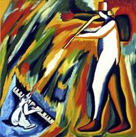 Enzo Cucchi - Caccia mediterranea, 1979 - olio su tela/oil on canvas, cm 100×100 - Collezione privata, Torino/Private collection, Torino