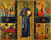 Pittore pisano (?), San Francesco d'Assisi e quattro miracoli Metà XIII secolo (Città del Vaticano, Musei Vaticani)