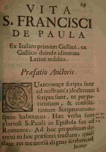 Volume Vita di San Francesco di Paola