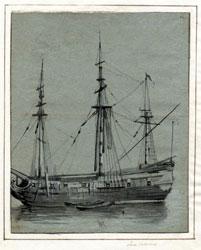 LUCA CARLEVARIJS (1663 – 1730) - Nave da guerra, Inv. 5950, Matita nera, penna inchiostro bruno, pennello seppia, biacca. - Carta grigio-azzurra; 269 x 215 mm