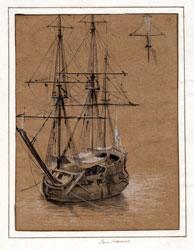 LUCA CARLEVARIJS (1663 – 1730) - Nave da guerra all'ancora, Inv. 5959, Matita nera, penna inchiostro bruno, pennello seppia, biacca. - Carta avana; 275 x 209 mm