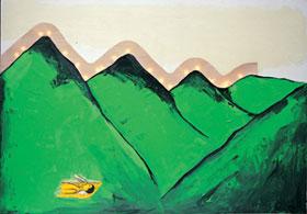 Enzo Cucchi, Coraggio / Courage, 1998-99, Olio su tela con materiale elettrico / Oil on canvas with electrical equipment,cm 280×400, Castello di Rivoli Museo d'Arte Contemporanea, Torino
