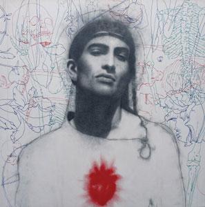 Omar Galliani, Santi, 2006-2007, matita su tavola, inchiostro 200 x 200 cm