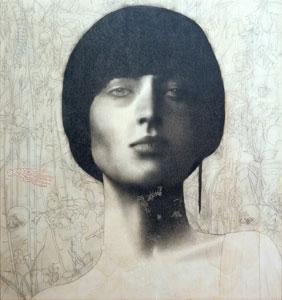 Omar Galliani, Santi, 2006, matita su tavola 150 x 150 cm