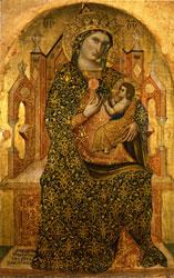 Stefano di Sant'Agnese (doc. seconda metà XIV sec.) Madonna in trono col Bambino (1369), Tavola , cm. 81 x 51 - Venezia, Museo Correr