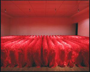 Kiyonori Shimada (Okayama 1964) Echo with the Ancient Times, nylon rosso scolpito, 52 pezzi di 90×250x50 cm ciascuno