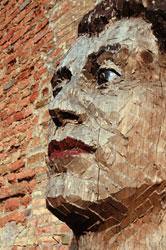 Stephan Balkenhol, Grande testa 1994, legno dipinto, cm 110 x 80 x 90, particolare