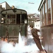 Il Gamb de legn durante il suo ultimo viaggio il 31 agosto 1957, a Porta Magenta