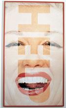 Barbara Kruger, Help, 2001, serigrafia su vinile, 214×123 cm, Collezione Claudio e Maria Grazia Palmigiano, Milano.