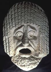 Maschera tragica maschile, Marmo bianco, Provenienza sconosciuta. Prima metà del I sec. d.C. - Museo Nazionale Romano- Terme di Diocleziano, Dim. h. cm 90; l. cm 70