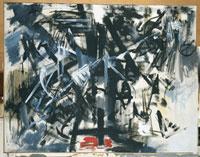 Emilio Vedova, Crocifissione contemporanea – Ciclo della protesta. N.4, 1953, Acrilico su tela, cm 130×166, Galleria Nazionale d'Arte Moderna