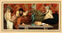 Laurence Alma-Tadema, Vino greco (Greek Wine), 1873, acquerello su carta, cm 17 x 35,5, Città del Messico, Collezione Pérez Simόn