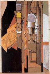 Juan Gris, Verres, journal et bouteille de vin, 1913, tecnica mista, 42×29,5, Fundaciò Telefonica Colecciòn de Arte Cubista de Telefonica, Madrid