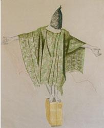 """Susan Crile """"Hooded & Electrically Wired / Incappucciato e collegato elettronicamente"""", 2005 carboncino, pastello e gesso su carta, cm 105,4×83,82"""