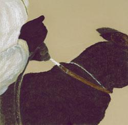 """Susan Crile """"Hands of Power: dog & master on attack / Le mani del potere: cane e padrone all'attacco"""", 2005 carboncino e pastello su carta, cm 69,85×69,85"""