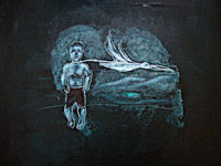 Avish Khebrehzadeh/MACRO - Boy and Pelican, 2007 40,6 x 50,8 cm (16×20 inches), pittura a olio su gesso e legno