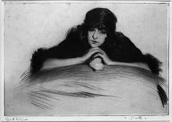 Edgard Chahine (1874 – 1947), Ginetta, puntasecca, mm 217×317, Dono dell'artista 1921, Ca' Pesaro – Galleria Internazionale d'Arte Moderna