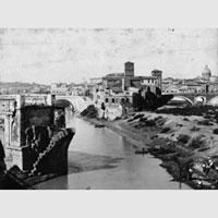 Veduta dell'Isola Tiberina e del Ponte Rotto, 1890 ca., American Academy in Roma Photographic Archive
