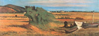 Giovanni Fattori, (Livorno, 1825 – Firenze, 1908), Rappezzatori di reti a Castiglioncello, 1870 circa, Olio su tela, 23,5 x 62 cm, Collezione privata