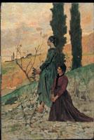 Giovanni Fattori, (Livorno, 1825 – Firenze, 1908), La preghiera della sera (o L'Ave Maria), 1875 circa, Olio su tavola, 47 x 33 cm, Collezione privata
