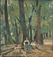 Giovanni Fattori, (Livorno, 1825 – Firenze, 1908), Tre contadine sedute nel bosco all'ombra, 1875 circa, Olio su tela, 38,5 x 35 cm, Collezione privata