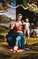 Sebastiano del Piombo - Sacra Famiglia in un paesaggio, 1530 ca. - olio su tavola, 249 x 167 - Burgos, Cattedrale