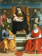 Luca Signorelli, Madonna in trono col Bambino e i santi Giacomo Maggiore, Simone, Francesco e Bonaventura, 1508