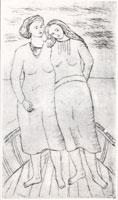 Viviani - Le ragazze del navicello, 1935, puntasecca su zinco