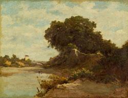 Luigi Bertelli, Il ponte sul Savena, 1885, Olio su tela, cm 53,5 x 70, Bologna, Galleria d'Arte Cinquantasei