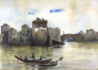 Ettore Roesler Franz (Roma 1845-1907), Isola Tiberina da ponente col Ponte Cestio prima delle ultime demolizioni, Acquerello, mm 569×790, Roma 1878