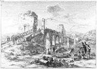 Jan Both (Utrecht, 1610-1652), Veduta di ponte Milvio, 1636-1640, Calcografia, acquaforte; misure matrice: 198 x 277 mm; stampa: 202 x 280 mm, Roma, Museo di Roma, Gabinetto Comunale delle Stampe
