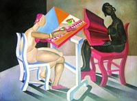 Fortunato Depero, Lettrice e ricamatrice, cm 70 x100, olio, 1920 by SIAE 2008