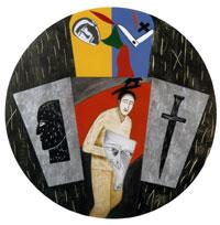 Mimmo Paladino, America, 1996 - Acquaforte, puntasecca, acquatinta, xilografa, serigrafia, foglia d'argento