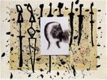 Mimmo Paladino, 2003, per De Universo di Rabanus Maurus - Serigrafia materica, polvere di quarzo, acquatinta su collage carta giappone