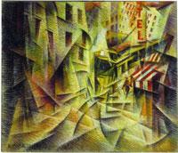 R.M. Baldessari, Strada+Tram, cm 50 x 60, pastello, 1916