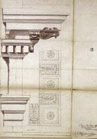 """Filippo Juvarra,""""Disegnio per l'Architrave: Freggio e Cornice della Chiesa di Superga"""", 1720. Torino, Archivio di Stato, Sezioni Riunite, Azienda Fabbriche e Fortificazioni, Contratti fabbriche, registro n. 7 (1720)"""