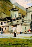 Lorenzo Delleani, Oropa, 1895, olio su tavola, cm 20x15, Biella, collezione privata