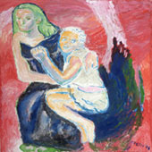 Donna con bambino felici insieme