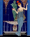George Barbier (1882-1932), La Fontaine de coquillages, da Gazette du Bon Ton, marzo 1914, pochoir, cm 25x20, Venezia, Centro studi di Storia del tessuto