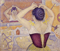 Paul Signac, Donna che si pettina. Opus 227 (arabeschi per una stanza da toeletta), 1892, encausto su tela applicata, 59x70 cm. Collezione privata