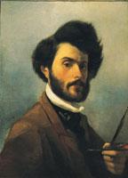 Giovanni Fattori (Livorno,1825 - Firenze,1908), Autoritratto con tavolozza, 1854, olio su tela, 60x48. Firenze, Galleria d'arte moderna di Palazzo Pitti
