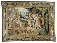 Manifattura del faubourg Saint-Marcel su disegno di Antoine Caron, La regina distribuisce il bottino di guerra, primo decennio del XVII sec., lana, seta, argento, oro, cm 497 x 660, Parigi, Mobilier national