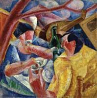 Umberto Boccioni, Sotto il pergolato a Napoli, 1914, olio e collage su tela, 83X83, Civiche Raccolte d'Arte, Museo del Novecento, Milano