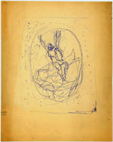 Lucio Fontana, Resurrezione (studio per formella), s.d., penna a sfera su carta avorio a grana fine, mm. 323 x 256