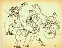 Lucio Fontana, Studi per figure e calesse, s.d., matita e inchiostro su carta avorio a grana fine filigrana Extra Strong, mm. 218 x 279