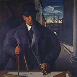Achille Funi: Ritratto di Mario Chiattone, 1924, olio su tela, cm 103x103. Museo Civico di Belle Arti/Collezioni della Città di Lugano